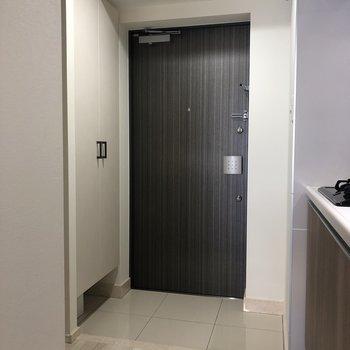 玄関、シックだ、、※写真は4階同間取り別部屋のものです