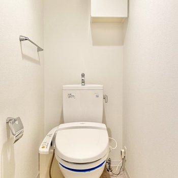 ウォシュレット付きのトイレ。小さな戸棚もあります。