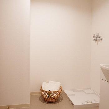 ランドリーバスケットなども十分置けますね。※家具はサンプルです