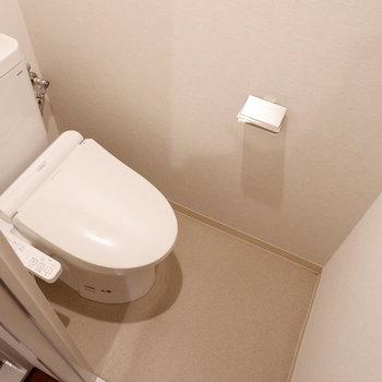 いちばん奥にトイレ。ウォシュレット付きですよ。