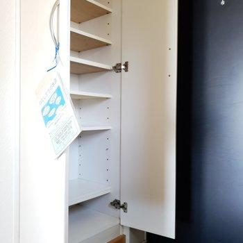 棚の高さを変えられるので、靴が少なかったらスーツケースも入りそう!