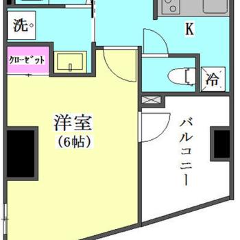 1Kのお部屋、洋室が鋭角ですね。