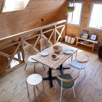 【2Fスペース】天井高くダイニングなどおいてもゆったり使えます。※家具はサンプルです