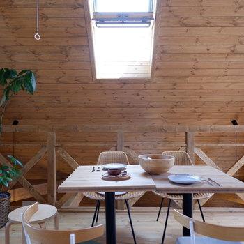 【2Fスペース】天窓もあり換気も行えます。※家具はサンプルです
