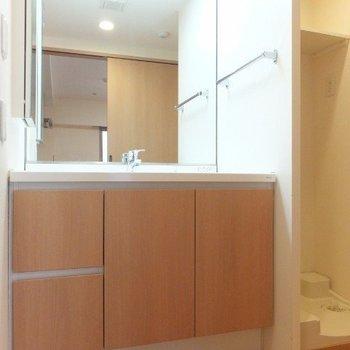鏡の大きな洗面台!※写真は6階の反転間取り別部屋のものです
