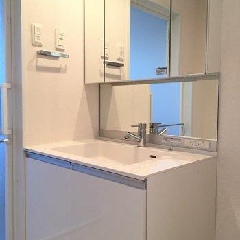 スタイリッシュな洗面台。(※写真は3階の同間取り別部屋のものです)