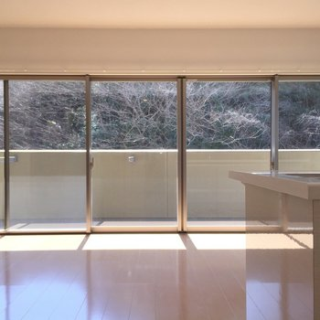 広い窓から明るい光が差し込みます。(※写真は3階の同間取り別部屋のものです)