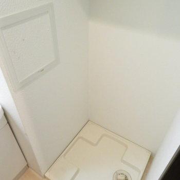 洗濯機置き場は洗面台横 ※写真は2階の同間取り別部屋のものです