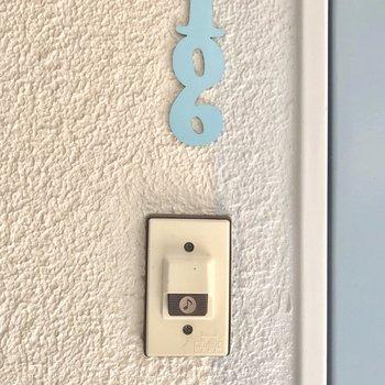 部屋番号のプレートも可愛い。