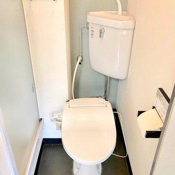 トイレはウォシュレット付きです。左はシャワーブース。