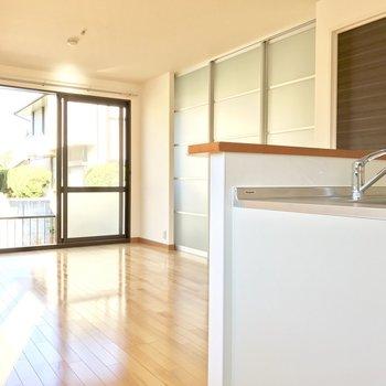 LDKと洋室を隔てる引き戸は、すりガラスになっていて明るさが損なわれない。