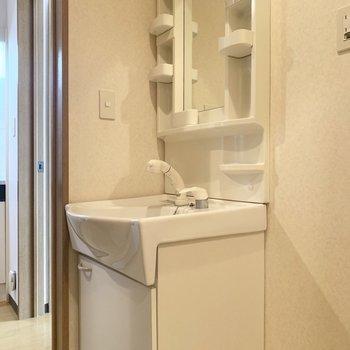 収納付きの独立洗面台