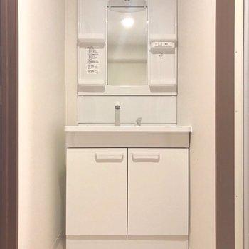 左側に大きな洗面台!朝の支度もラクラク。