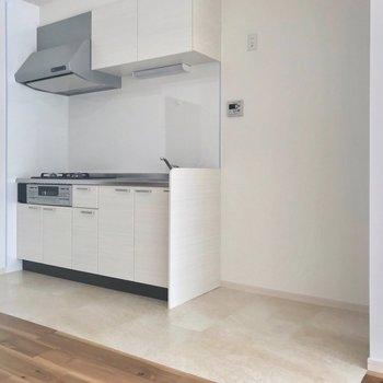 キッチンには大きめの冷蔵庫やラックも置けそう◎