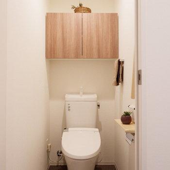 トイレにも手すりや収納。細部まで尽くされています。