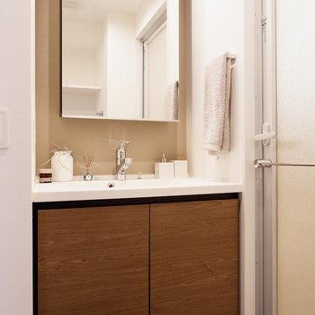 鏡も収納もおおきめ。※家具はサンプルです