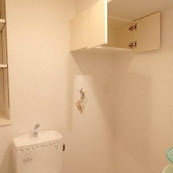 このスペースにも収納たっぷり。※写真は2階の同間取り別部屋のものです