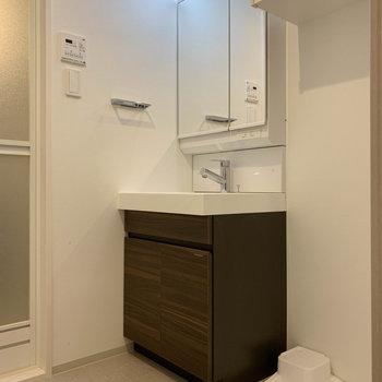 サニタリーです。大型の洗面台がしっかりと。※写真は4階の同間取り別部屋のものです