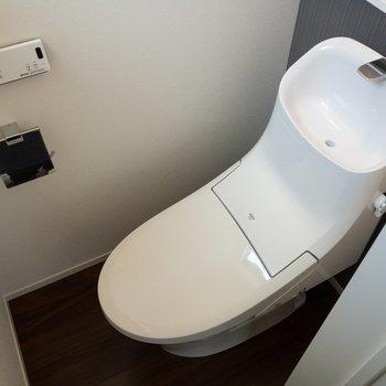ハシゴの横にはトイレ。温水洗浄便座付き!