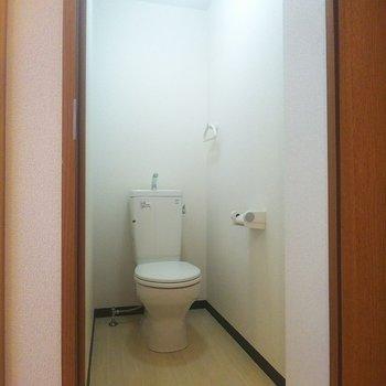 トイレの内装はシンプル。圧迫感の無いサイズがちょうどよい。