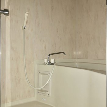 お風呂は高級感のあるパネルが使われています※写真は通電前・フラッシュを使用して撮影しています