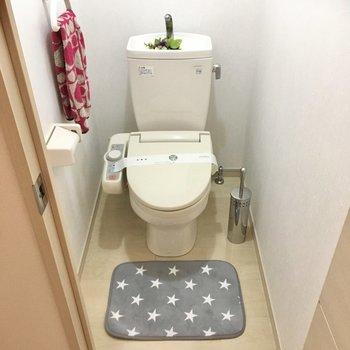 トイレは廊下にありました。ウォシュレット付きです。(※写真の小物は見本です)