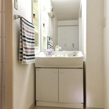 はいってすぐ大きな鏡の洗面台(※写真の小物は見本です)
