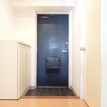 玄関の扉はシックな雰囲気。
