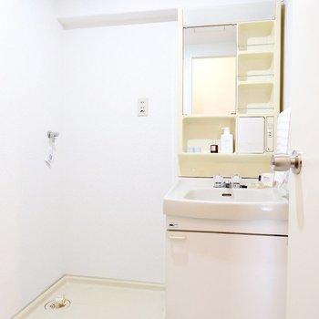洗面台には化粧水や歯ブラシもしっかり置けますよ。※家具・雑貨はサンプルです