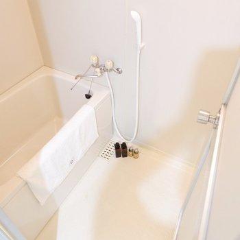 お風呂はゆったり、居心地良さそう。※家具・雑貨はサンプルです