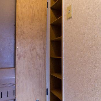 可動棚なのでロングブーツも収納できます。※写真は4階同間取り別部屋のものです