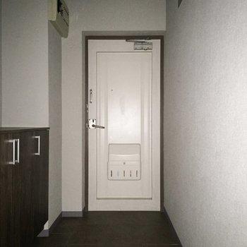 玄関は広めなので、みんなでお出かけのときも余裕ですね。※写真は通電前のものです※フラッシュを使用しています