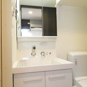 収納たくさんの洗面台※写真は14階の反転間取り別部屋のものです。