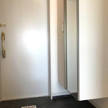 大きめシューズボックスもある玄関です。※写真は9階の同間取り別部屋のものです