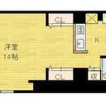 カウンターキッチン付きの1R、お部屋は広さありますよ!
