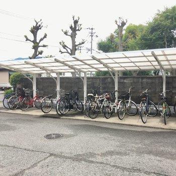 エントランスからちょっと離れたところに自転車置き場。