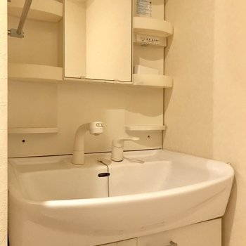 ノズルが伸びるから洗いやすいよ!※写真は14階の同間取り別部屋のものです