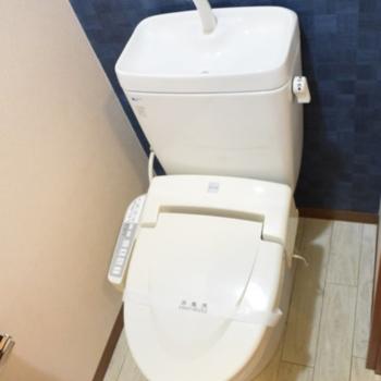 深いブルーの壁紙がきれいなトイレ