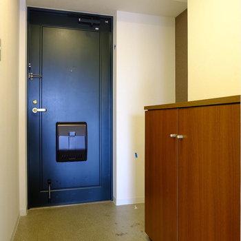 玄関も広くて使いやすい。シューズボックスも完備。