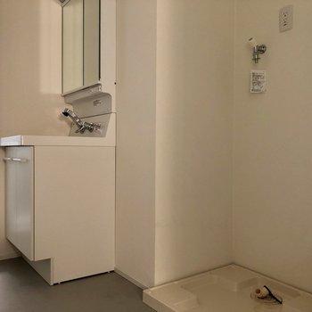 洗面台の鏡の裏は、収納になっています。※写真は通電前のものです