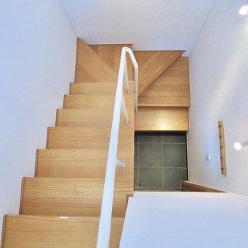 螺旋階段を上から眺めると、、
