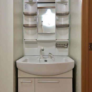 洗面台は収納多めです※写真は3階の同間取り別部屋のものです