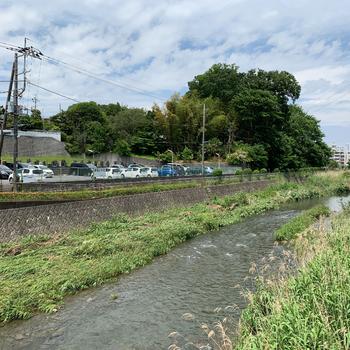 駅からの道中には、境川という川が流れていました。