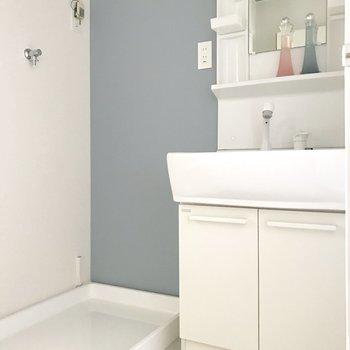 脱衣所に洗濯機を置けます。(※写真は4階の反転間取り別部屋、家具と小物は見本のものです)