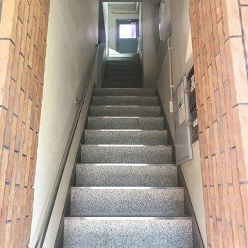 煉瓦に挟まれる階段を駆け抜けて。