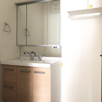 洗面台の鏡にも収納があります。※写真は3階の同間取り別部屋のものです