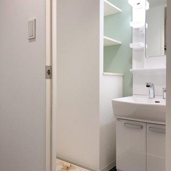 脱衣所に洗面台と洗濯機置場。 棚もあるので、洗剤ストックはそこへ。