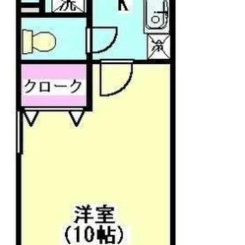 10帖ほどある広い1Kのお部屋。