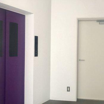 紫のエレベーター、素敵。