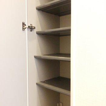 棚は可動式でブーツ等も入ります。